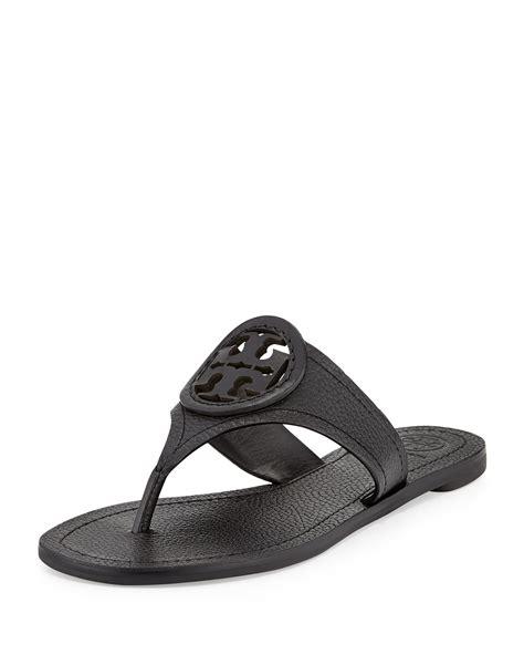 burch black sandals burch louisa logo flat sandal in black lyst