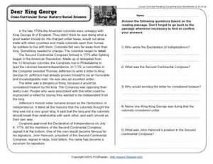 dear king george 5th grade reading comprehension worksheet