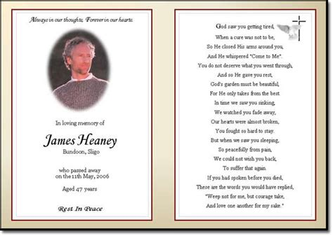 funeral memorial cards template best photos of obituary tribute exles memorial sle