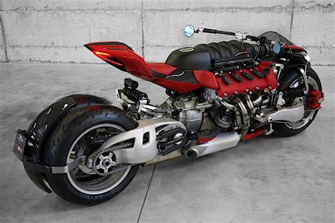 maserati v10 a ferrari f136 engine shoehorned into a lazareth motorcycle
