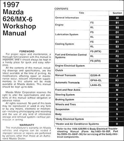 manual repair free 1997 mazda mx 6 transmission control 1997 mazda 626 mx 6 repair shop manual original