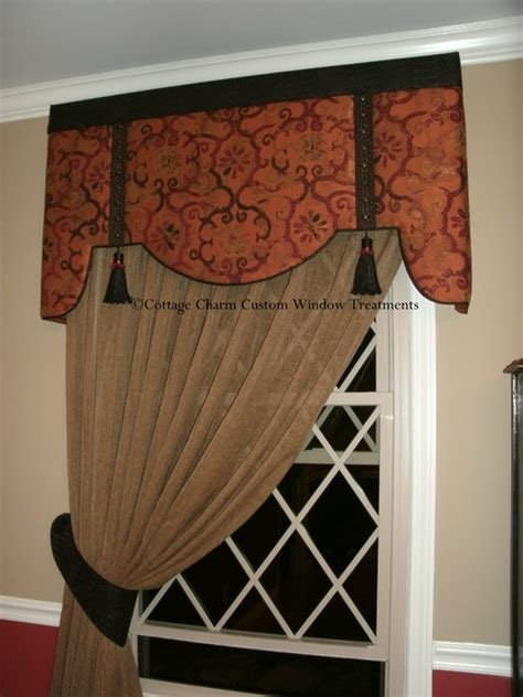 Upholstered Cornice Window Treatments Upholstered Cornice With Faux Leather Accents