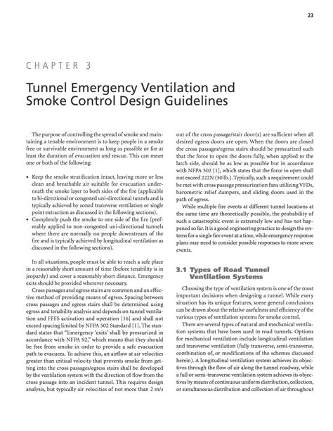 design guidelines for ventilations chapter 3 tunnel emergency ventilation and smoke control