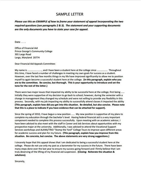 appeal sle letter for financial aid