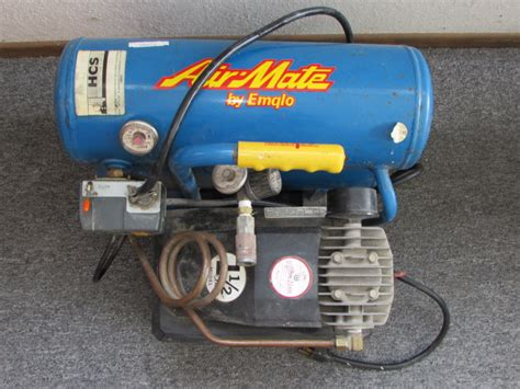 lot detail heavy duty professional grade air mate by emglo 1 1 2 hp stack tank compressor