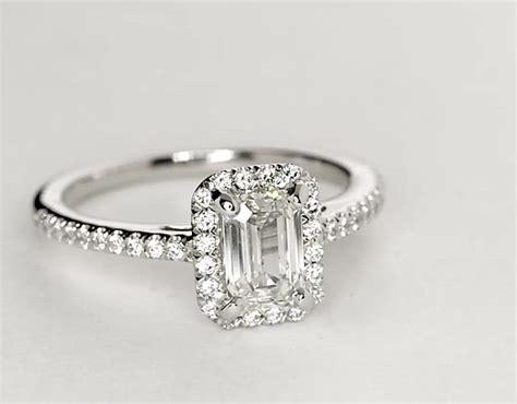 emerald cut halo engagement ring in platinum