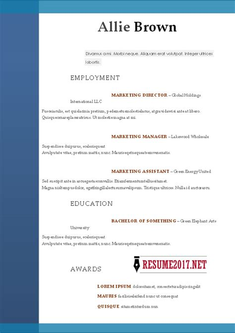 Resume Format 2017 16 Free To Download Word Templates Resume Format Template 2017