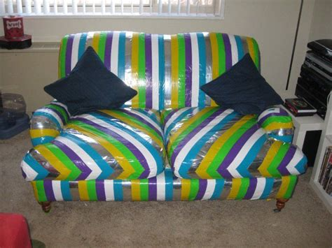 duct tape couch omg this duct tape couch is amazing take that cat for