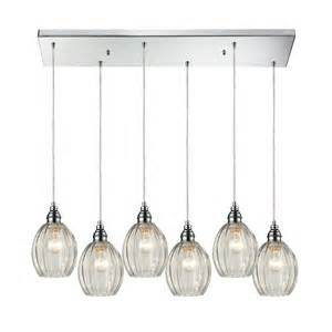 multi light pendant light with clear glass and 6 lights