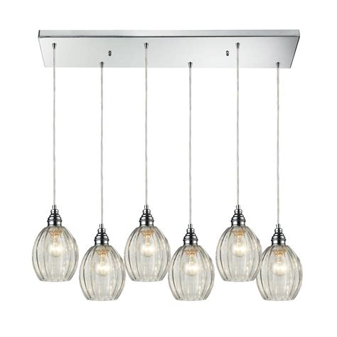 Multi Glass Pendant Lights Multi Light Pendant Light With Clear Glass And 6 Lights 46017 6rc Destination Lighting