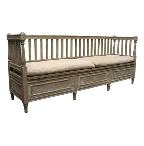 high back storage bench damita french country weathered gray high back storage