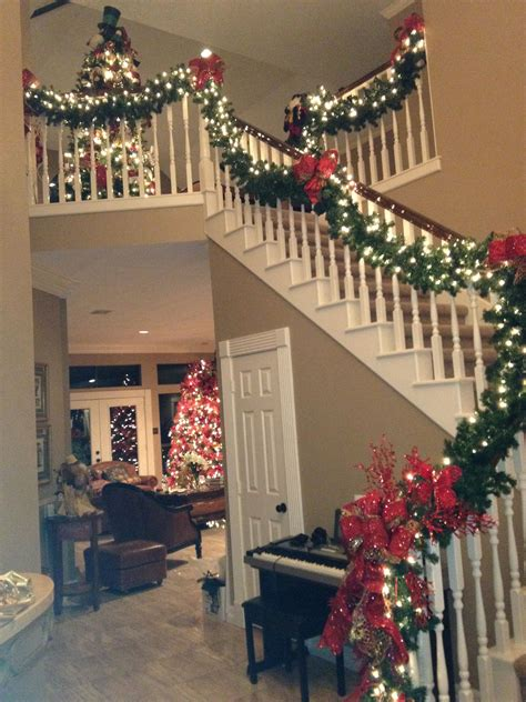 stairwell christmas garland lighting wrap it design decor decorations and