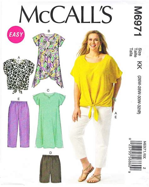 sewing pattern sizes mccalls sewing pattern 6971 womens plus size 18w 24w easy