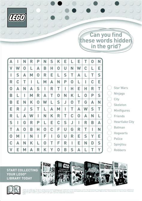 printable lego activity sheets lego word search activity sheets for kids pinterest