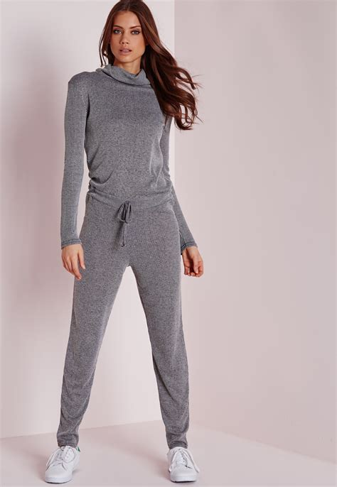 Jumpsuit Greya missguided sleeve ribbed drawstring jumpsuit grey in gray lyst