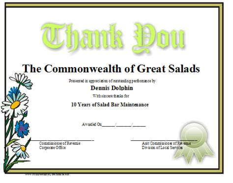 thank you certificates templates free printable thank you certificates