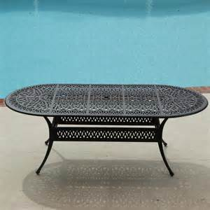 Cast Aluminum Patio Table Rosedown 72x42 Inch Oval Cast Aluminum Patio Dining Table By Lakeview Outdoor Designs Ultimate