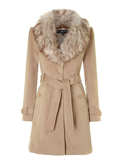 faux fur collar coat in lyst