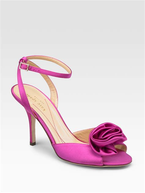 fuschia sandals kate spade satin sandals in purple fuschia lyst