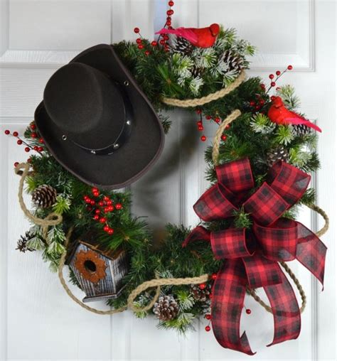 western christmas decorating ideas cowboy winter wreath front door wreath