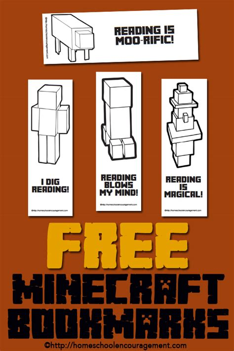 free minecraft printables for reading bookmarks reading