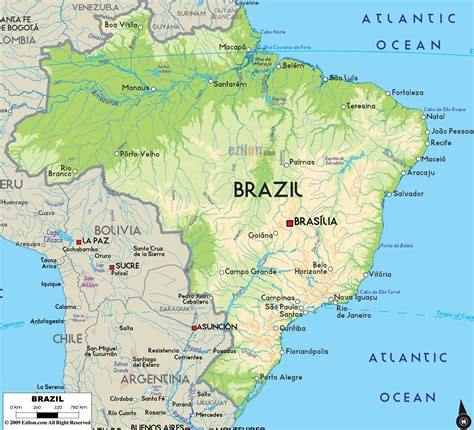 brazil physical map large physical map of brazil with major cities brazil