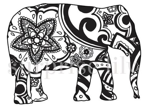mehndi elephant coloring page items similar to animal and pets floral coloring page book