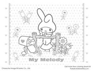 My Melody Colouring Sheets Cute Kawaii Resources Melody Coloring Pages