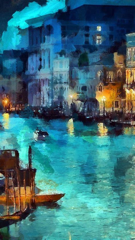 art classic painting water lake night blue iphone