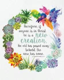 2 Corinthians 5 17 Succulent Watercolor Wreath Printable