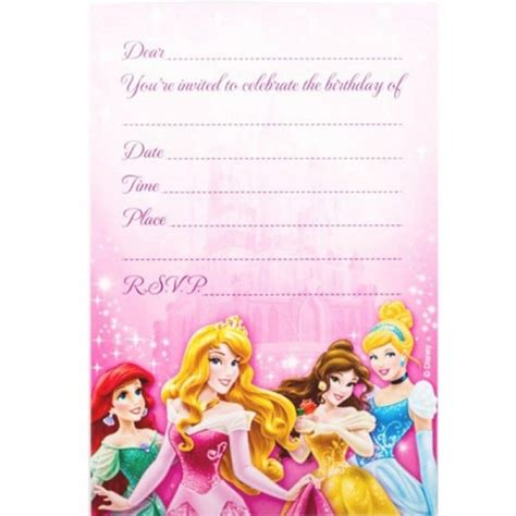 disney princess birthday card templates disney invitations template resume builder