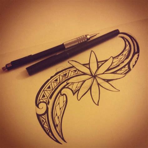 small polynesian tattoo my artwork of a tiare flower with polynesian accents and