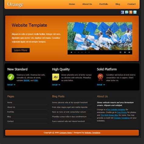 html themes templates orange free html css templates