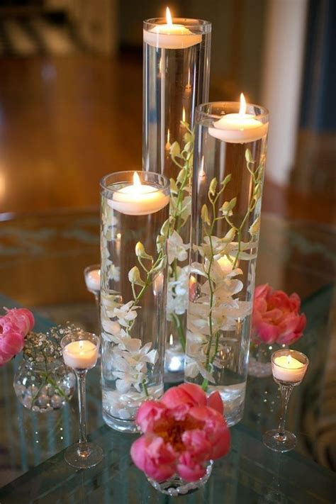 Cylinder Vases With Floating Candles And Flowers by Coming Out White Flower Floating Candle Vase Wedding