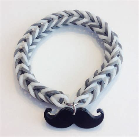 mustache rubber st rainbow loom fishtail rubber band bracelet with a mustache