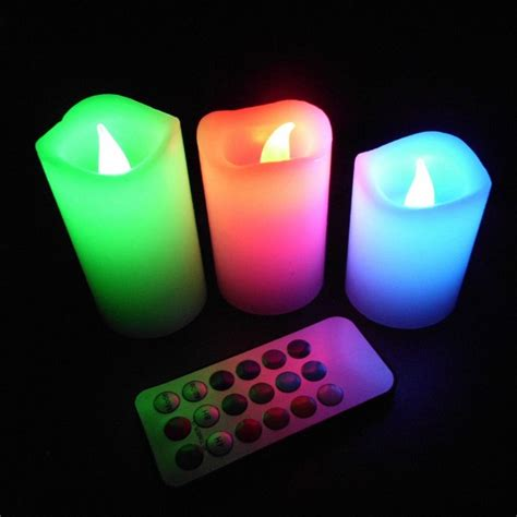 color changing candle 3pcs wax battery operated remote 12 color changing