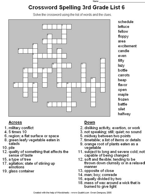 printable crossword puzzle for 3rd graders spelling words 3rd grade list
