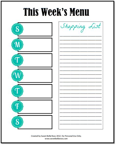 family menu planner template free printable weekly menu planner template