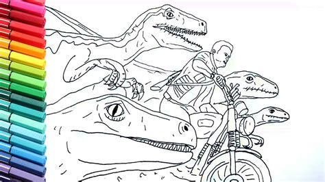 drawing  coloring jurrasic world raptor  motorbike