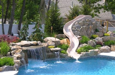 rock waterfalls for pools custom rock waterfall with water slide from pool town in