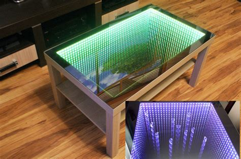 infinity mirror coffee table oak table led 3d coffeetable illuminated infinity mirror