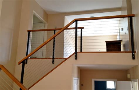 modern banisters and handrails black railing posts with stainless cable modern other