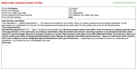 Mail Handler Cover Letter by Casual Mail Handler Cover Letters