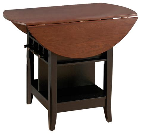 Jofran Brunette Cherry Drop Leaf Counter Height Table With Dining Table With Wine Storage