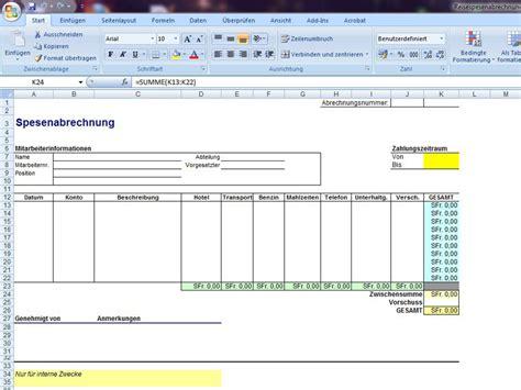 Vorlage Rechnung Unterkunft Spesenabrechnung Excelvorlage De