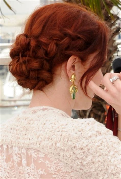 braided updo hairstyles   rich red braid chignon