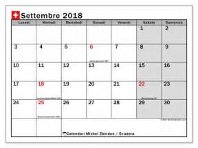 Calendario 2018 Ticino Calendari Per Stare Settembre 2018 Giorni Festivi