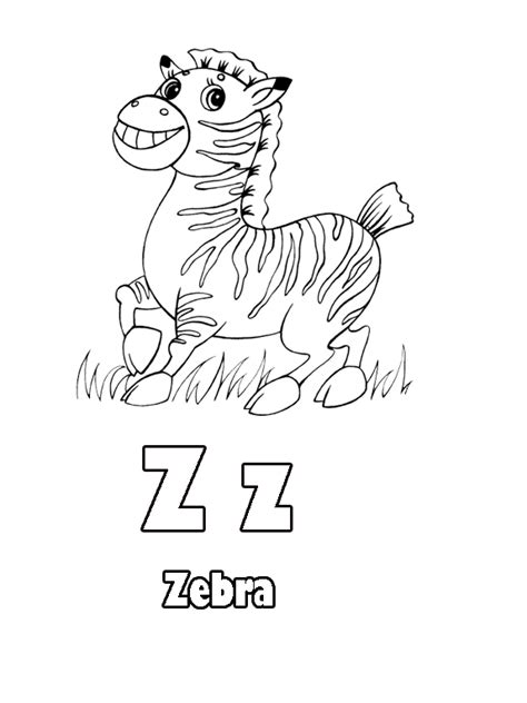 Z Zebra Coloring Page by Free Letter Z Zebra Print Coloring Pages