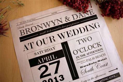 newspaper themed wedding invitation 17 best images about wedding invitations on pinterest