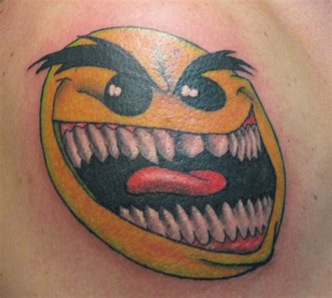 smiley tattoo 10 scary and silly smiley designs